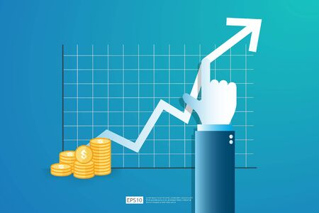 Increase profit sales diagram. Hand with business chart growth in flat style design. increasing graph investment revenue with line arrow and businessman hand vector illustration concept to success Ilustracja