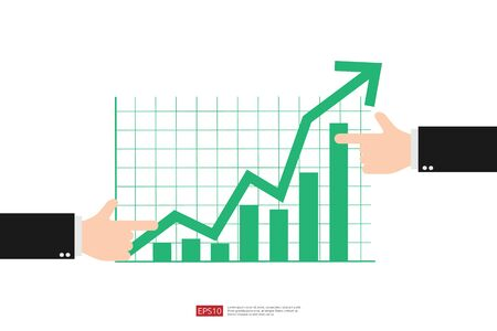 Increase profit sales diagram. Hand with business chart growth in flat style design. increasing graph investment revenue with line arrow and businessman hand vector illustration concept to success 免版税图像 - 149365723