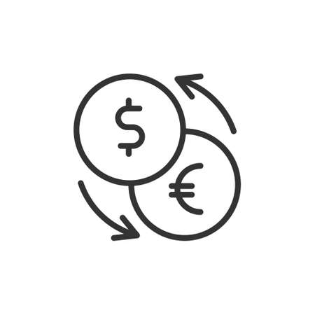 Exchange icon. Euro and Dollar currency convert symbol. flat vector illustration