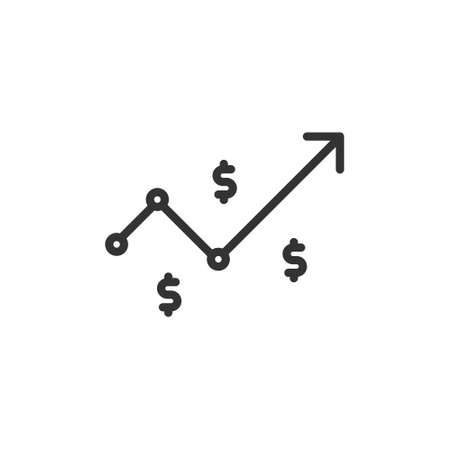 dollar rate increase icon. Money symbol with stretching arrow up. rising prices. Business cost sale icon. cash salary increase. investment growth. vector illustration 免版税图像 - 151632649