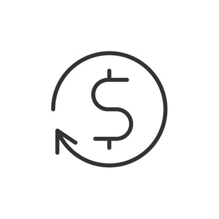 money transfer Icon symbol. currency exchange, financial investment service, cash back refund, send and receive mobile payment concept. line icon vector illustration