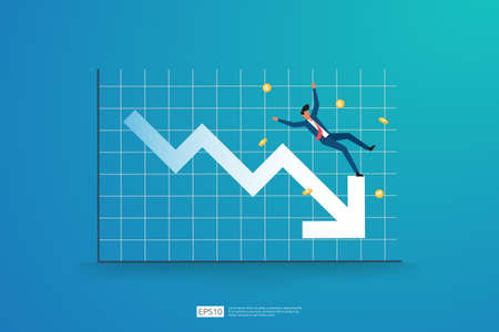 business finance crisis concept with business man character. money fall down with arrow decrease symbol. economy stretching global lost bankrupt. cost declining reduction or loss of income
