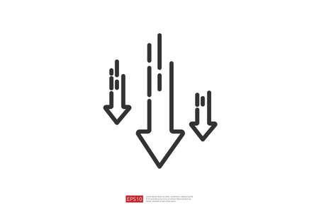 arrow decrease icon symbol. economy stretching rising drop fall down. Business lost crisis decrease. lower cost, reduction bankrupt icon. vector illustration.