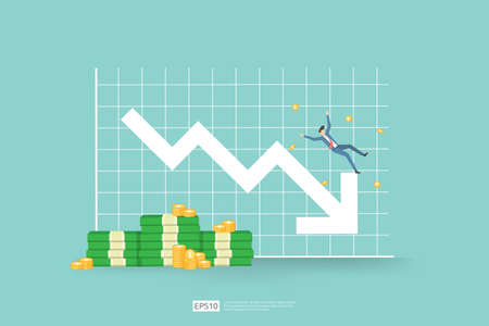 finance crisis concept with business man character. money fall down with arrow decrease symbol. economy business stretching global lost bankrupt. cost declining reduction or loss of income profit