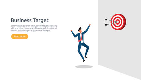 pointing the marketing business target concept for planning and management finance. strategy achievement to reach the success goal. Flat design style illustration vector with businessman character