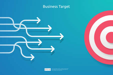 pointing the marketing business target concept for planning and management finance. strategy achievement to reach the success goal. Flat design style illustration vector