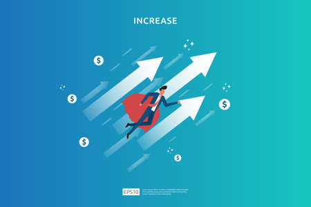 salary rate increase with growth up arrow and people character. business profit grow or income margin management revenue. Finance statistic performance of return on investment ROI illustration concept Ilustracja
