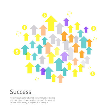 business arrow up concept to success. Finance level growth vision stretching rising up. banner flat style vector illustration. Return on investment ROI. chart increase profit