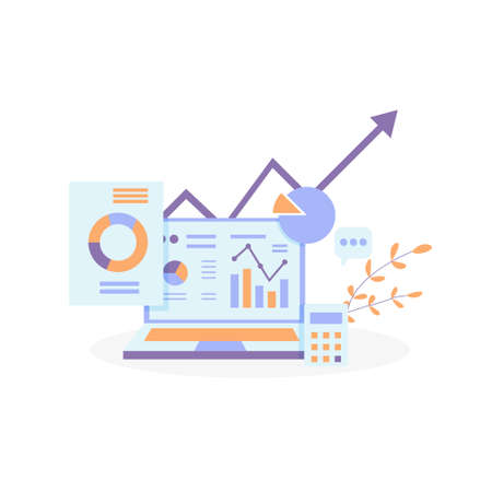 business growth arrows to success. Finance stretching rising up. Return on investment ROI concept. data report graph element and chart increase profit document on screen flat style vector illustration Ilustración de vector