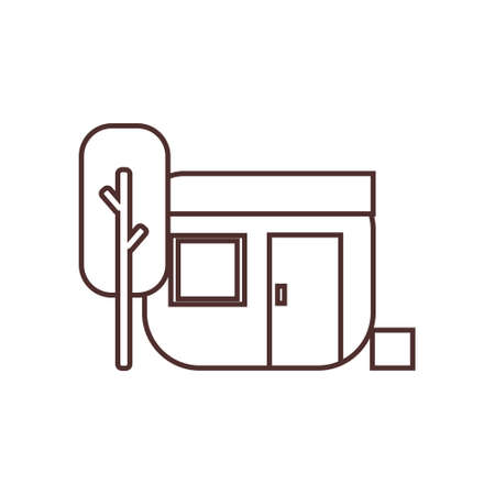 camping house and tree outline line icon vector illustration