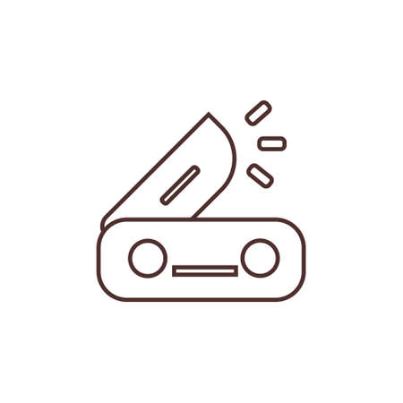 camping pocket knife outline line icon vector illustration