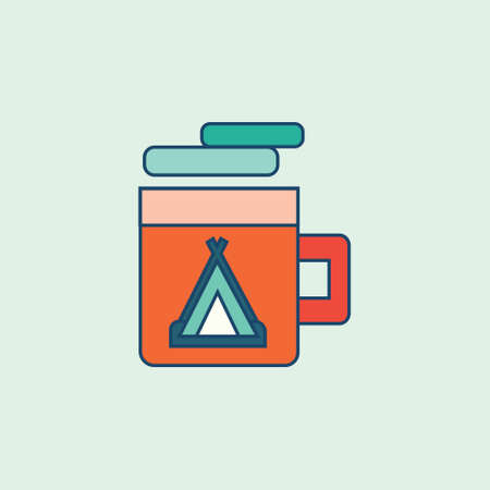 warm drink Colored Filled line icon vector illustration
