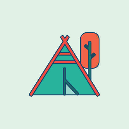 tent and tree Colored Filled line icon vector illustration