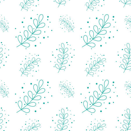 eucalyptus silver dollar leaf seamless pattern background vector illustration. green flat style leaves plants illustration. Suitable for social media posts, greeting cards, posters, placards 矢量图像