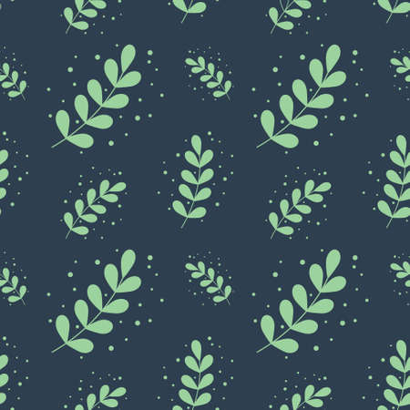 eucalyptus silver dollar leaf seamless pattern background vector illustration. green flat style leaves plants illustration. Suitable for social media posts, greeting cards, posters, placards