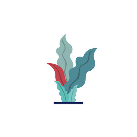 abstract tropical plants and leaves illustration. colorful flat style leaves. Suitable for social media posts, mobile apps, greeting cards, posters, placards, banners design and web internet ads