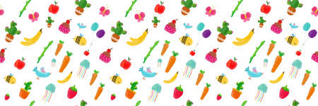 seamless pattern fruit and animal vector illustration. clip ar cartoon set for greeting card, anniversary, web banners, social and print media