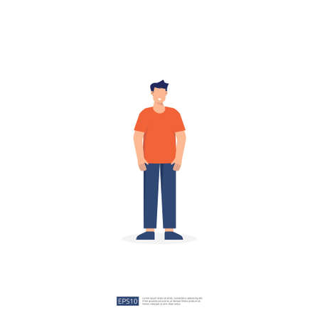 no face young man character. male business people standing gesturing. businessman Flat style isolated vector illustration 矢量图像