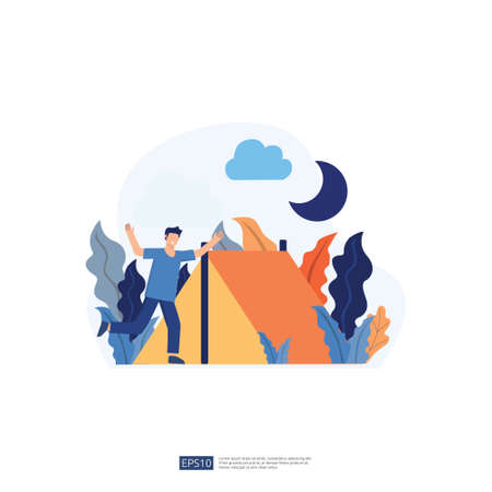 backpacker and camping holiday illustration with no face young man character. male people standing with gesturing. Flat style isolated vector illustration