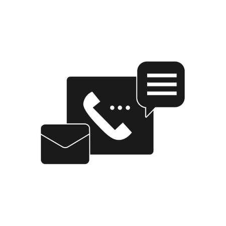 support service solid style icon with phone, email and chat bubble sign symbol vector illustration