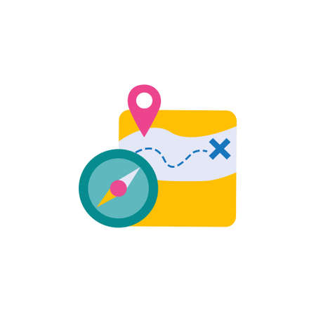 location guide route flat style icon with gps map pin and compass sign symbol vector illustration