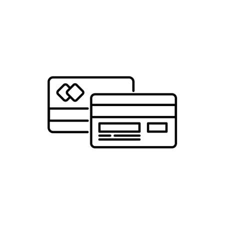 finance card stoke outline icon for payment transaction process vector illustration 矢量图像