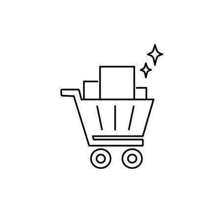 trolley basket stoke outline icon for website or retail market store vector illustration