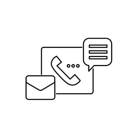 support service stoke outline icon with phone, email and chat bubble sign symbol vector illustration 矢量图像