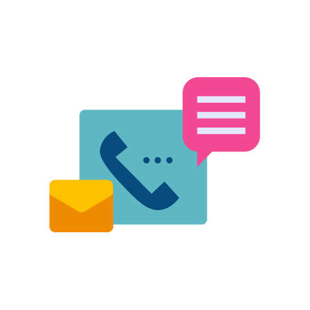 support service flat style icon with phone, email and chat bubble sign symbol vector illustration 矢量图像