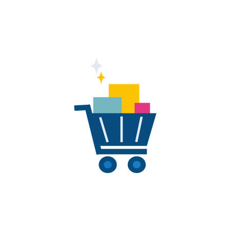 trolley basket flat style icon for website or retail market store vector illustration