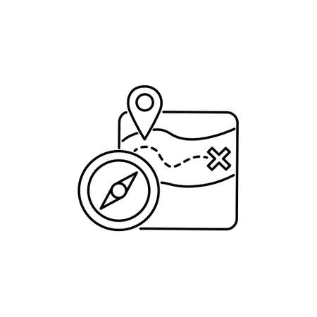 location guide route stoke outline icon with gps map pin and compass sign symbol vector illustration