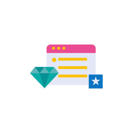 favorite web browser flat style icon with star bookmark and diamond symbol vector illustration