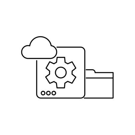 database cloud and folder data storage stoke outline icon for website or computing business vector illustration
