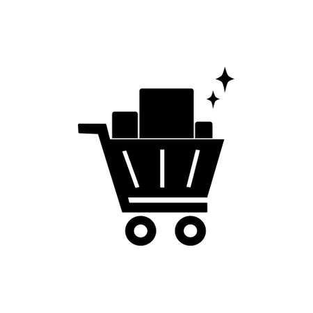 trolley basket solid style icon for website or retail market store vector illustration