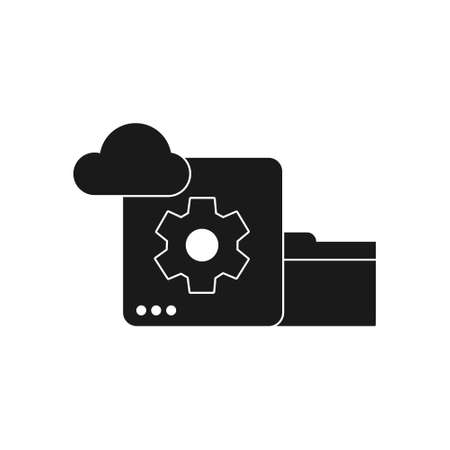 database cloud and folder data storage solid style icon for website or computing business vector illustration
