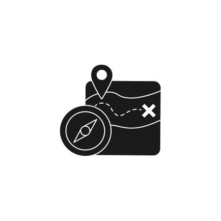 location guide route solid style icon with gps map pin and compass sign symbol vector illustration 矢量图像