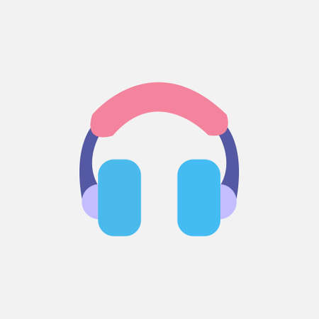 Headset Flat style Icon vector illustration. Headphones sign symbol