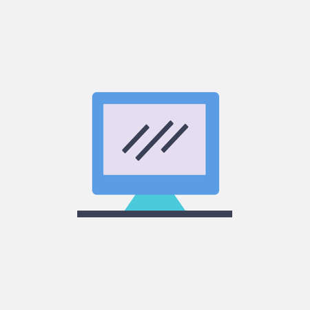 computer monitor pc icon with flat style vector illustration 矢量图像
