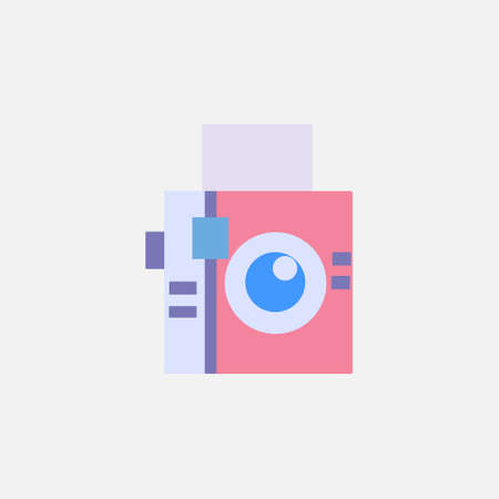 analogue square camera flat style icon for photographer vector illustration