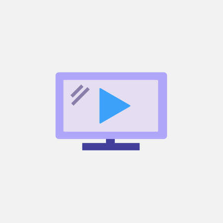 video play flat style icon for movie streaming, social media or online course vector illustration 矢量图像