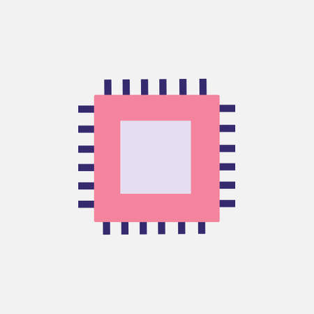 microchip cpu processor chip flat style icon vector illustration