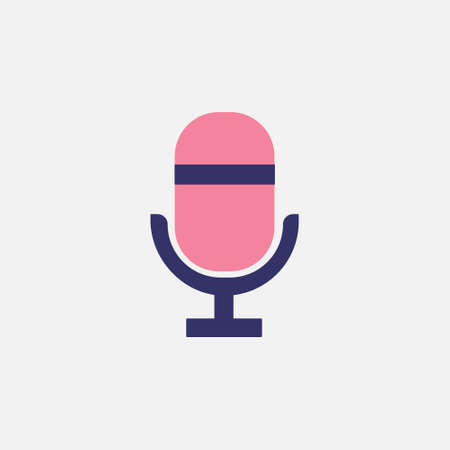 microphone flat style icon for podcast, radio or sound record sign symbol vector illustration  イラスト・ベクター素材
