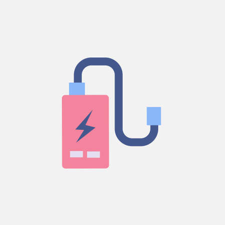 power cell storage battery or portable charger flat icon vector illustration