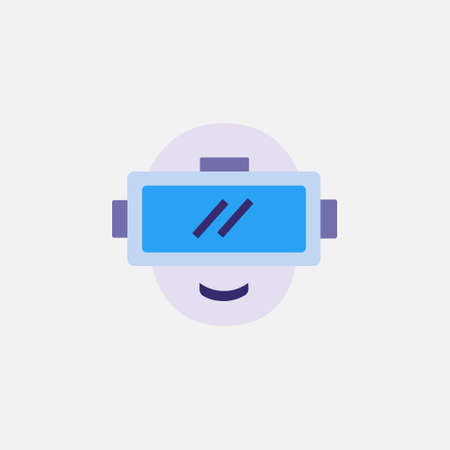 vr virtual or augmented reality flat style icon with eyewear device vector illustration 矢量图像