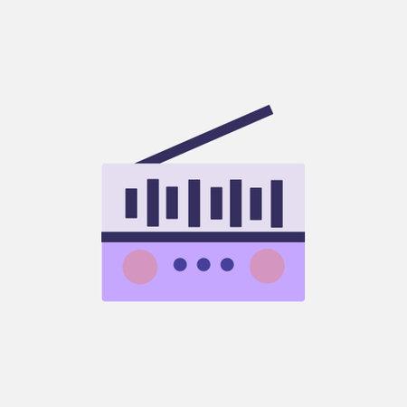 radio fm tuner flat style icon vector illustration