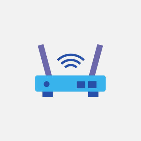 wifi router port device flat style icon vector illustration