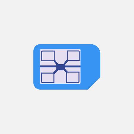 cellular sim card flat style icon vector illustration 矢量图像