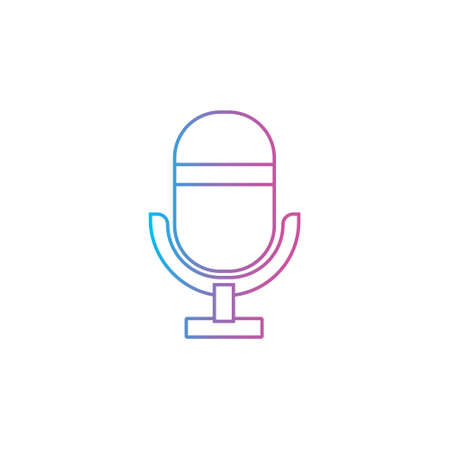 microphone flat outline line icon for podcast, radio or sound record sign symbol vector illustration