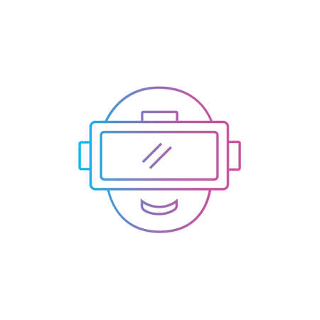 vr virtual or augmented reality outline line style icon with eyewear device vector illustration 矢量图像