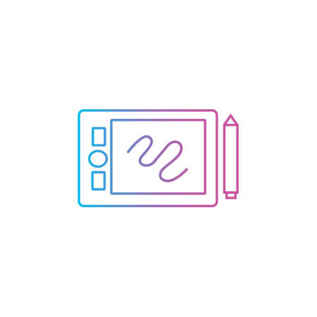 pen tablet and stylus tools gadget outline line style icon vector illustration